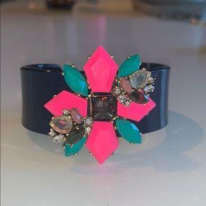 J. Crew Cuff Bracelet, Navy Acrylic Cuff w/ Gems